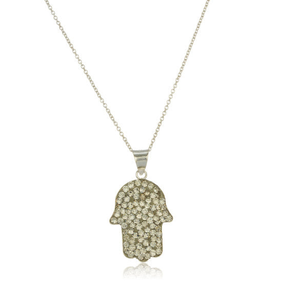 Real 925 Sterling Silver Hamsa Hand Pendant With Clear Stones And An 18 Inch Link Necklace