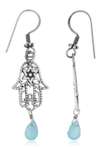 Real 925 Sterling Silver Hamsa Hand With Star Of David Design And Light Blue Stone Dangle Earrings