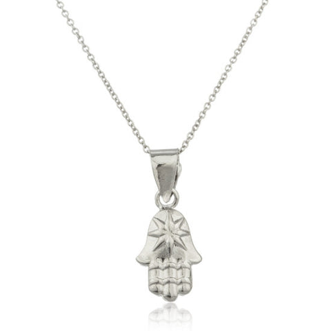 Real 925 Sterling Silver Hamsa Micro Pendant With An 18 Inch Link Necklace