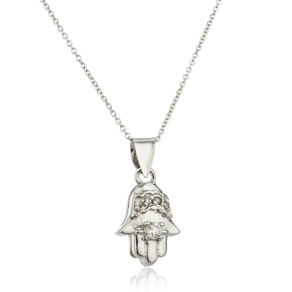 Real 925 Sterling Silver Hamsa Micro Pendant With Cubic Zirconia And An 18 Inch Link Necklace