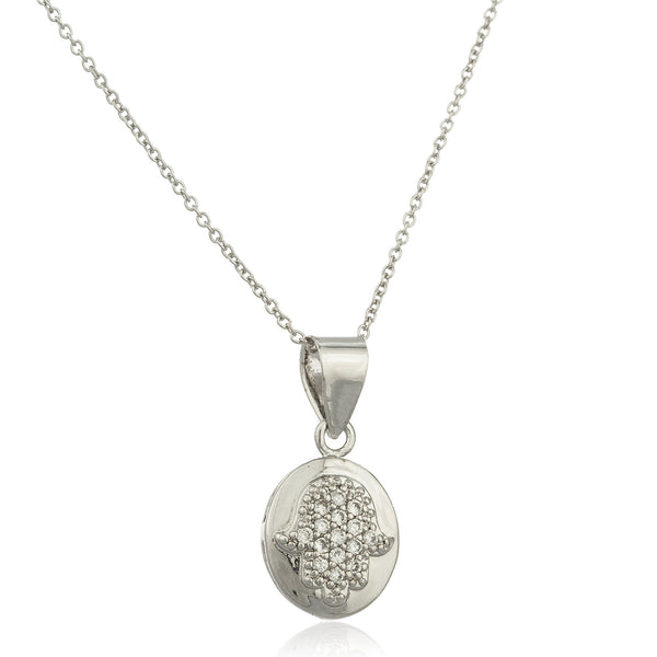 Real 925 Sterling Silver Hamsa Oval Micro Pendant With Cz Stones And An 18 Inch Link Necklace