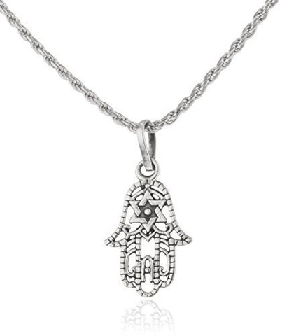 Real 925 Sterling Silver Hamsa & Star Of David Pendant With An 18 Inch Rope Chain Necklace