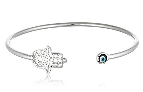 Real 925 Sterling Silver Hamsa With Mini Eye Cuff Bracelet (sterling-silver)