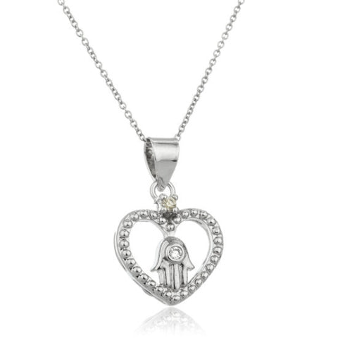Real 925 Sterling Silver Heart And Hamsa Hand Pendant With Cz And An 18 Inch Link Necklace