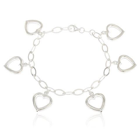 Real 925 Sterling Silver Heart Charmed 7 Inch Bracelet