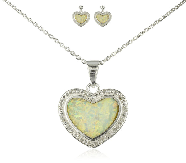 Real 925 Sterling Silver Heart Created Opal Necklace With Matching Stud Earrings Jewelry Set (White)
