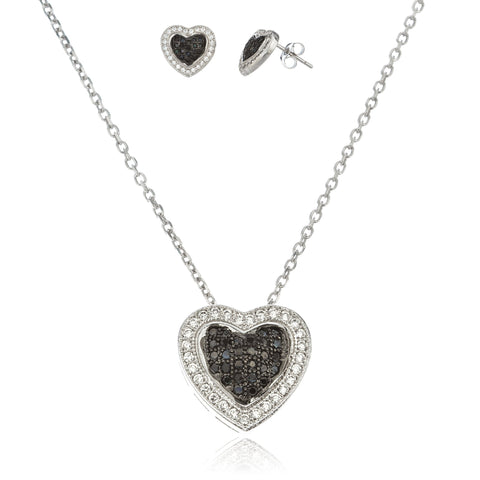 Real 925 Sterling Silver Heart Pendant And Matching Earrings With Cz Stones And A 1mm 18 Inch Link Necklace