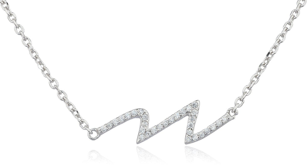 Real 925 Sterling Silver Heartbeat Cz...