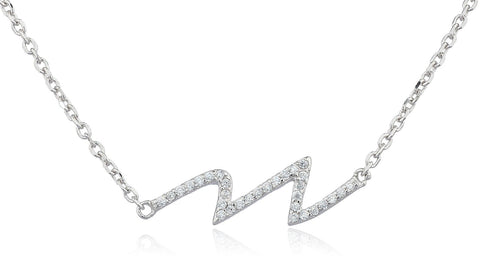 Real 925 Sterling Silver Heartbeat Cz Stones Pendant With An Adjustable 16 Inch Necklace