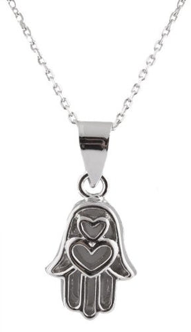 Real 925 Sterling Silver Hollow Stacked Hearts Style Hamsa Pendant 18 Inch Cable Chain Necklace