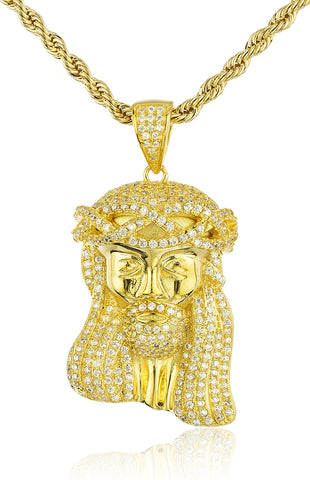 Real 925 Sterling Silver Iced Cubic Zirconia Jesus Pendant With A 3mm 24 Inch Brass Rope Necklace