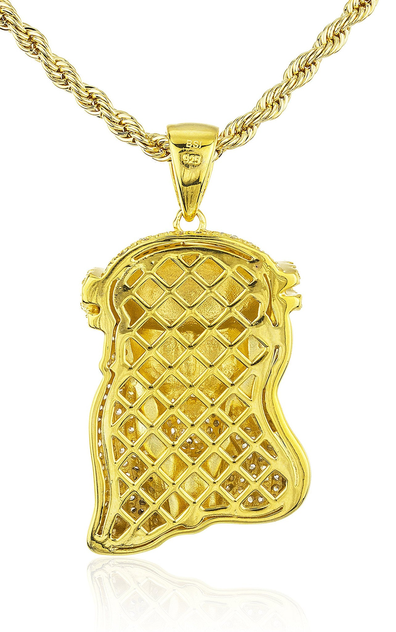piece in white itm jesus sterling chain finish silver diamond genuine pendant gold