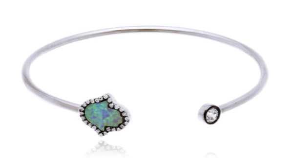 Real 925 Sterling Silver Iced Out Created Opal Hamsa Cuff Bangle Bracelet With Cubic Zirconia Stones (Silvertone)
