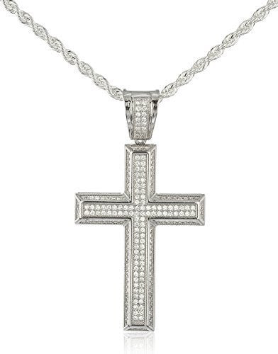 Real 925 Sterling Silver Iced Out Cubic Zirconia 3D Cross Pendant With A 3mm 24 Inch Brass Rope Necklace