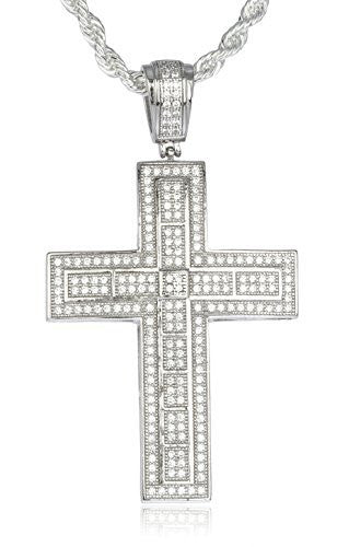 Real 925 Sterling Silver Iced Out Cubic Zirconia Cross Pendant With A 3mm 24 Inch Brass Rope Necklace