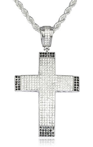 Real 925 Sterling Silver Iced Out Cubic Zirconia Cross With Black Stone Cornered Pendant With A 3mm 24 Inch Brass Rope Necklace