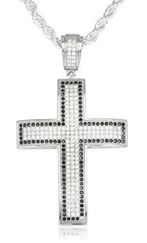 Real 925 Sterling Silver Iced Out Cubic Zirconia Cross With Black Stone Outline Pendant With A 3mm 24 Inch Brass Rope Necklace