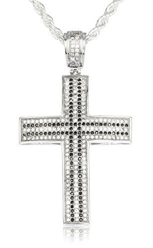 Real 925 Sterling Silver Iced Out Cubic Zirconia Cross With Black Stone Pendant With A 3mm 24 Inch Brass Rope Necklace
