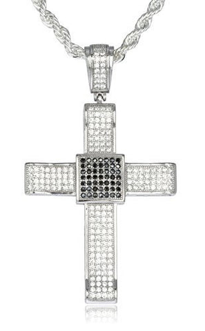 Real 925 Sterling Silver Iced Out Cubic Zirconia Cross With Black Stone Square Center Pendant With A 3mm 24 Inch Brass Rope Necklace