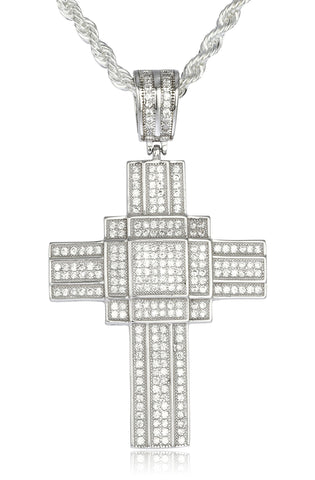 Real 925 Sterling Silver Iced Out Cubic Zirconia Geometric Cross Pendant With A 3mm 24 Inch Brass Rope Necklace