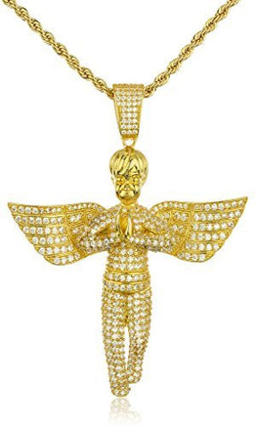 Real 925 Sterling Silver Iced Out Cubic Zirconia Praying Angel Pendant With A 3mm 24 Inch Brass Rope Necklace