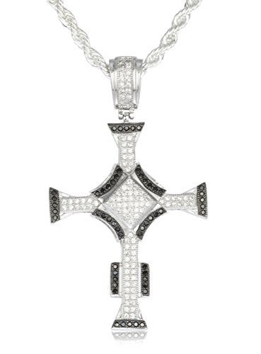 Real 925 Sterling Silver Iced Out Cubic Zirconia Triangular Cross Pendant With A 3mm 24 Inch Brass Rope Necklace (Silver W/ Black)