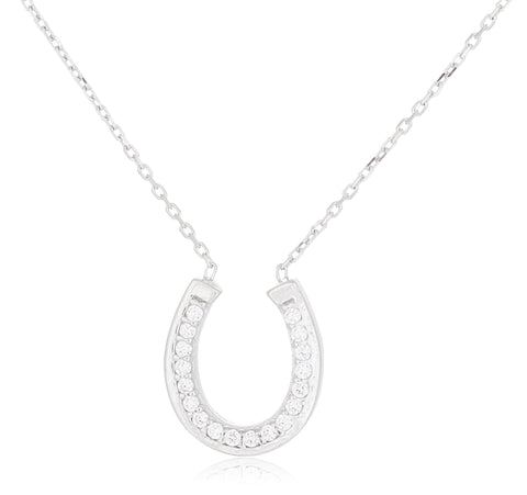 Real 925 Sterling Silver Iced Out Horseshoe Pendant With An 18 Inch Link Necklace