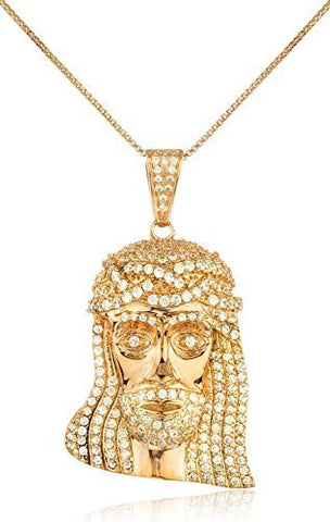 Real 925 Sterling Silver Iced Out Jesus' Face Pendant With A 24 Inch Real 925 Box Necklace (rose-gold-and-sterling-silver)