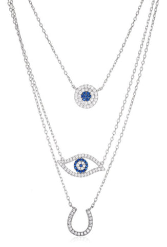 Iced Out Circle, Hamsa, Evil Eye, Horseshoe Necklace