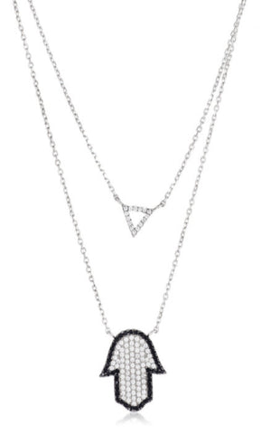 Real 925 Sterling Silver Iced Out Layered Triangle And Hamsa Necklace