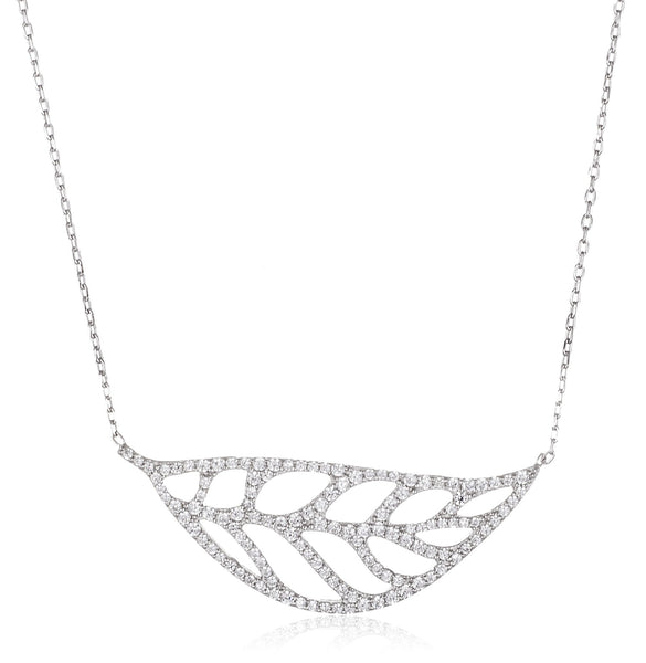 Real 925 Sterling Silver Iced Out Sideway Leaf Pendant With An 18 Inch Link Necklace