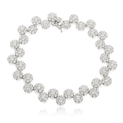 Real 925 Sterling Silver Iced Out Sunflower Cluster Tennis Bracelet With Cz Stones (7 Inches)