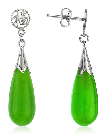 Real 925 Sterling Silver Jade Dangle Earrings