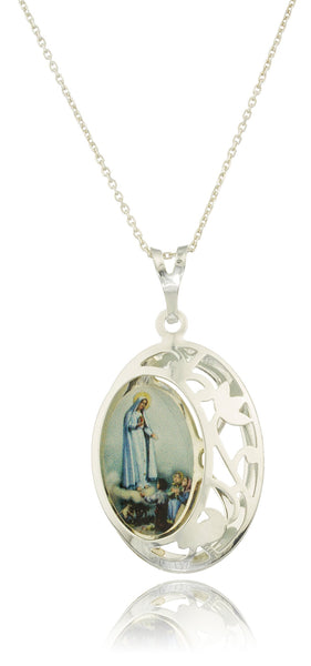 Real 925 Sterling Silver Lady Of Lourdes Pendant With Design And An 18 Inch Link Necklace