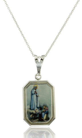 Real 925 Sterling Silver Lady Of Lourdes Rectangle Shaped Pendant With An 18 Inch Link Necklace