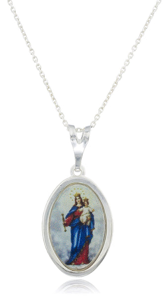 Real 925 Sterling Silver Lady Of Mount Carmel Oval Shaped Pendant With An 18 Inch Link Necklace