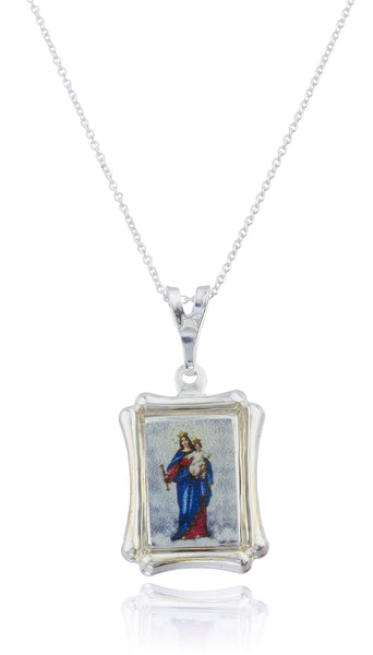 Real 925 Sterling Silver Lady Of Mount Carmel Rectangle Shaped Pendant With An 18 Inch Link Necklace
