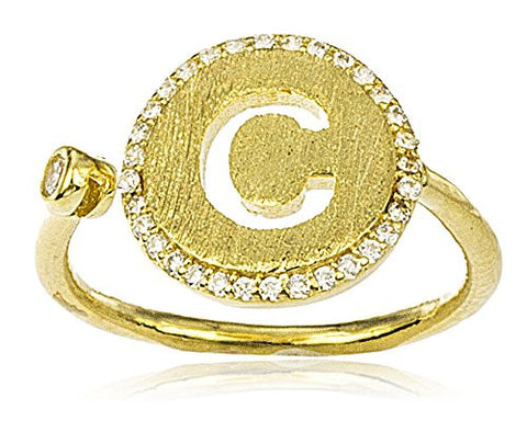 Real 925 Sterling Silver Letters Of The Alphabet With Cz Stones Adjustable Ring (C Yellow)