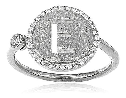 Real 925 Sterling Silver Letters Of The Alphabet With Cz Stones Adjustable Ring (E Silver)