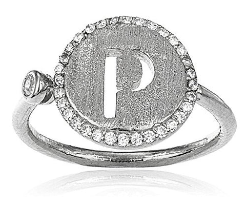 Real 925 Sterling Silver Letters Of The Alphabet With Cz Stones Adjustable Ring (P Silver)