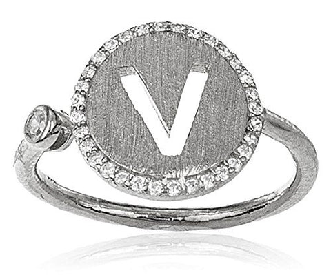 Real 925 Sterling Silver Letters Of The Alphabet With Cz Stones Adjustable Ring (V Silver)