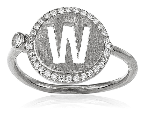 Real 925 Sterling Silver Letters Of The Alphabet With Cz Stones Adjustable Ring (W Silver)