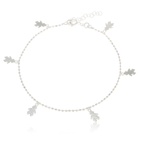 Real 925 Sterling Silver Little People Charmed 10 Inch Anklet Beaded Chain