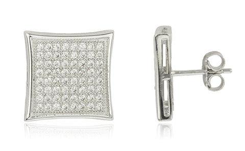 Real 925 Sterling Silver Micro Pave 15.5mm 8 Line Square Stud Earrings With Cz Stones