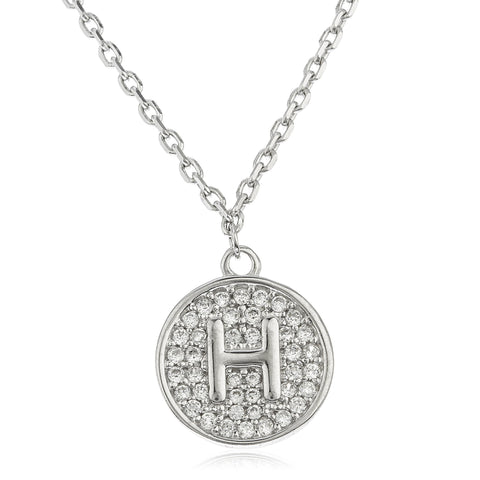 Real 925 Sterling Silver Micro Pave CZ Initial Pendant With A 16 Inch Necklace (H)
