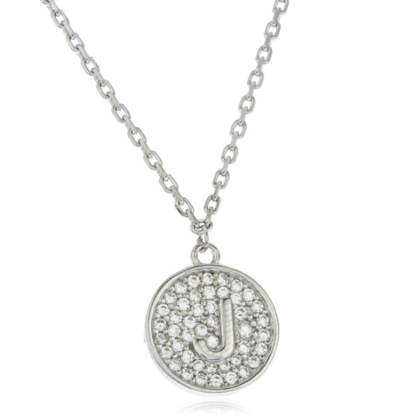 Real 925 Sterling Silver Micro Pave CZ Initial Pendant With A 16 Inch Necklace (J)
