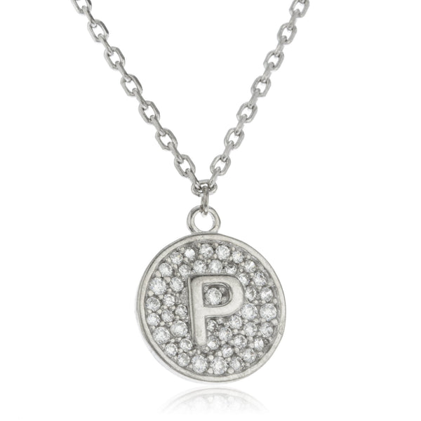Real 925 Sterling Silver Micro Pave CZ Initial Pendant With A 16 Inch Necklace (P)