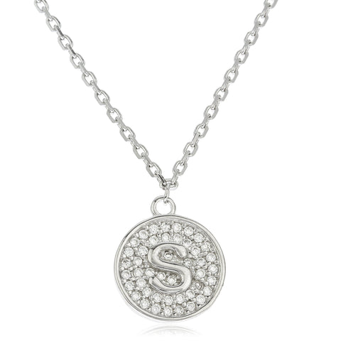 Real 925 Sterling Silver Micro Pave CZ Initial Pendant With A 16 Inch Necklace (S)
