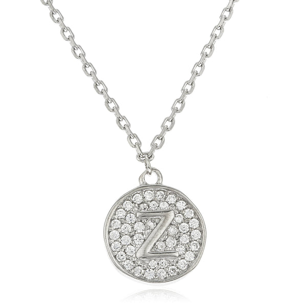Real 925 Sterling Silver Micro Pave CZ Initial Pendant With A 16 Inch Necklace (Z)