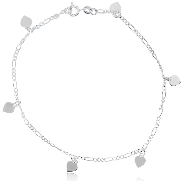 Real 925 Sterling Silver Mini Heart Charms 9.5 Inch Figaro Anklet